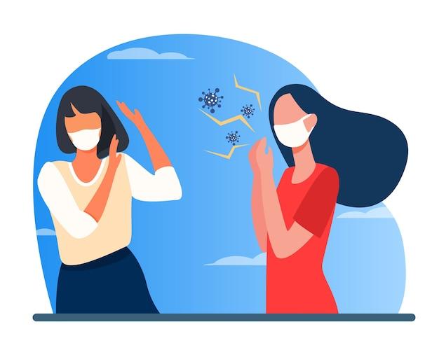 Mujer infectada en máscara tosiendo. propagación de virus, ilustración de vector plano de violación de distancia social. coronavirus, epidemia, infección