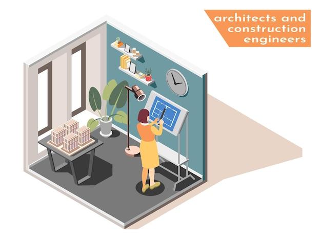 Mujer ingeniero arquitecto en el tablero de dibujo en la oficina dibujando ilustración isométrica de impresión azul