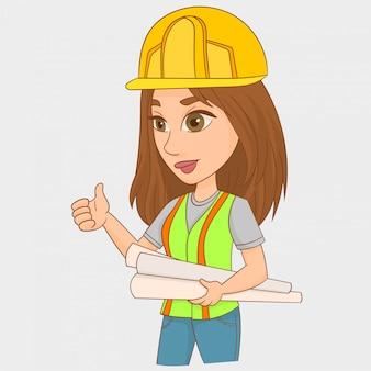 Mujer, ingeniero, en el trabajo