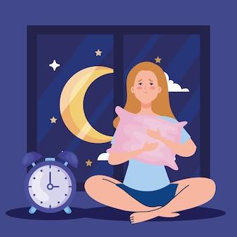 Mujer de insomnio con diseño de almohada y reloj, tema de sueño y noche
