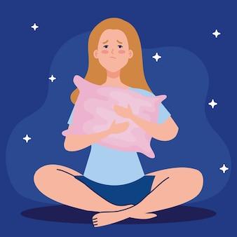 Mujer de insomnio con diseño de almohada, sueño y tema nocturno.