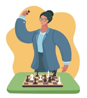 Mujer inteligente con gafas jugando al ajedrez