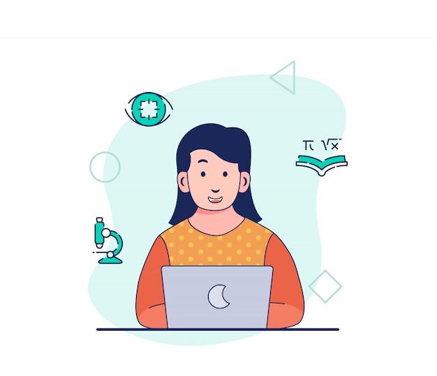 Mujer inteligente que trabaja en la computadora portátil pensamiento enfoque investigación análisis aprendizaje educación proyecto en proceso creativo con estilo plano de dibujos animados