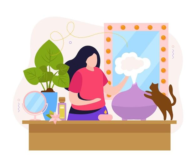 Mujer en el interior de una casa con difusor de aromaterapia con ilustración de aceite esencial