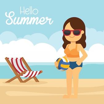 Mujer ir a viajar en vacaciones de verano