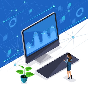 Mujer isométrica, mujer de negocios administra una pantalla virtual, un panel de plasma, una mujer inteligente disfruta de la tecnología de alta tecnología.