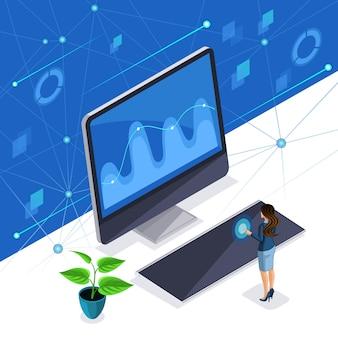 Mujer isométrica, una mujer de negocios elegante maneja una pantalla virtual, un panel de plasma, una mujer inteligente utiliza tecnología de alta tecnología.