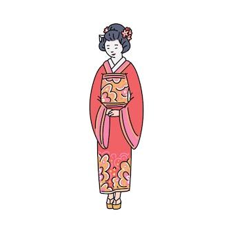 Mujer japonesa en ropa tradicional roja o personaje de dibujos animados de kimono, dibujo ilustración sobre fondo blanco. símbolo de la cultura oriental asiática.