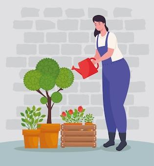Mujer de jardinería con diseño de plantas y regadera, plantación de jardines y naturaleza