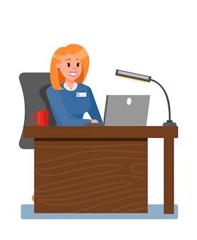 Mujer jefe en la ilustración de vector de oficina privada