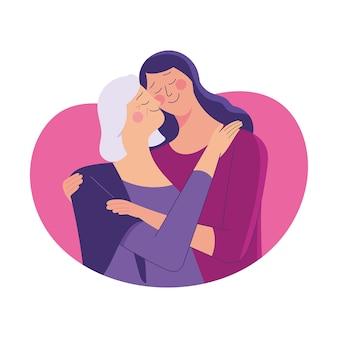 Mujer joven abraza a su vieja madre con amor.