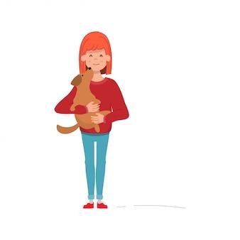 Mujer joven abrazar a su perro