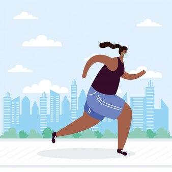Mujer joven afro con máscara médica corriendo personaje de avatar