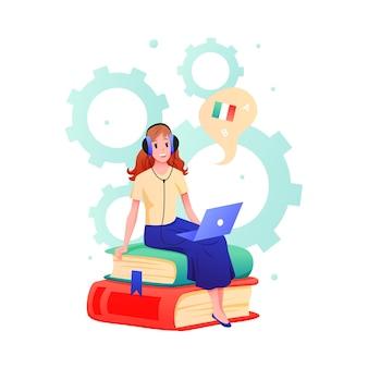 Mujer joven aprende idiomas extranjeros en curso en línea carácter de estudiante adolescente de dibujos animados aprendiendo italiano