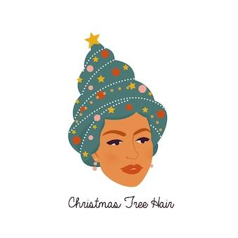 Mujer joven con árbol de año nuevo decorado con juguetes, regalos en su cabeza sonríe