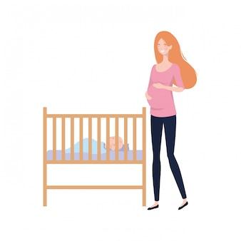 Mujer joven con bebé recién nacido