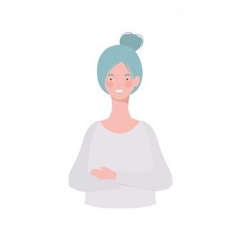 Mujer joven en blanco