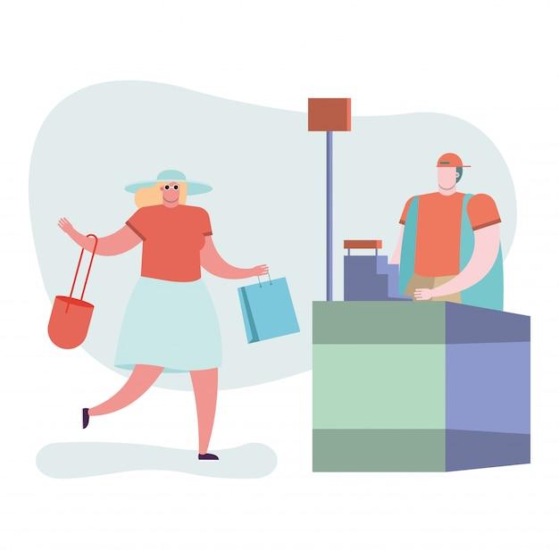 Mujer joven con bolsas de compras en punto de venta