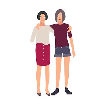 Mujer joven con brazo amputado de pie y abrazando a su amiga. adolescente con discapacidad física o deficiencia y su hermana caminando juntos. ilustración de vector plano colorido.