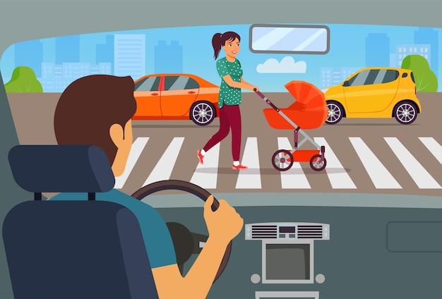 Mujer joven caminando con cochecito de bebé cruzar la calle. ilustración de estilo plano de vector
