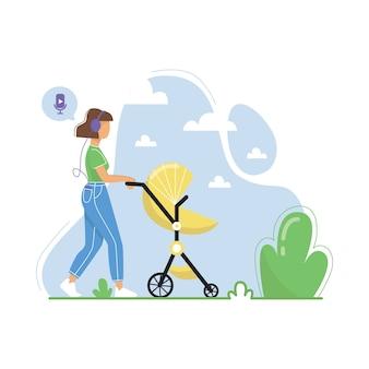 Mujer joven caminando con cochecito de bebé y escuchando podcasts, transmisión de radio en línea, música, audiolibros. ilustración plana.