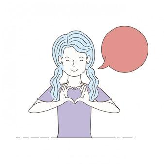 Mujer joven con carácter de avatar de burbuja de discurso