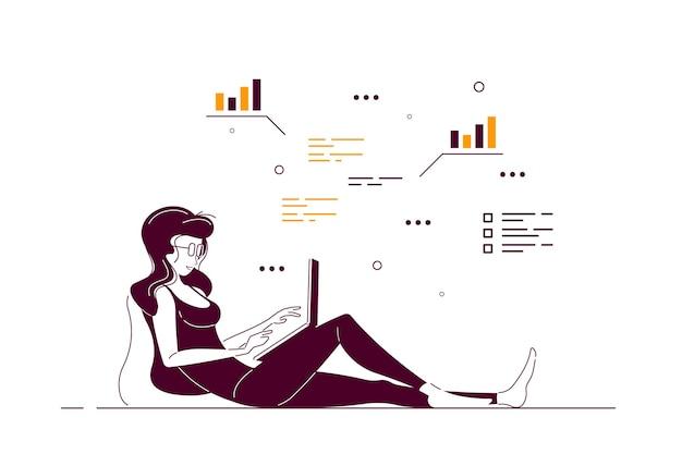 Mujer joven en casa sentada en el suelo y trabajando en equipo. trabajo remoto, oficina en casa, concepto de autoaislamiento. ilustración de arte de línea de estilo plano.