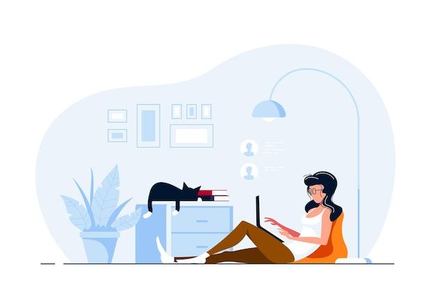 Mujer joven en casa sentada en el suelo y trabajando en equipo. trabajo remoto, oficina en casa, concepto de autoaislamiento. ilustración de estilo plano.