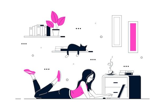 Mujer joven en casa tirada en el suelo y trabajando en equipo. trabajo remoto, oficina en casa, concepto de autoaislamiento. ilustración de arte de línea de estilo plano.