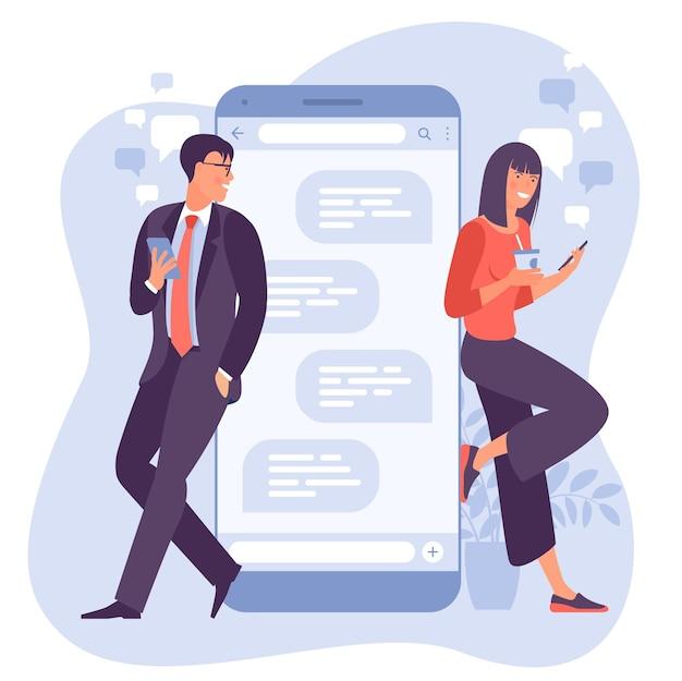 Mujer joven está charlando con un hombre joven con un enorme teléfono y bocadillos
