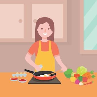 Mujer joven, cocina, ilustration