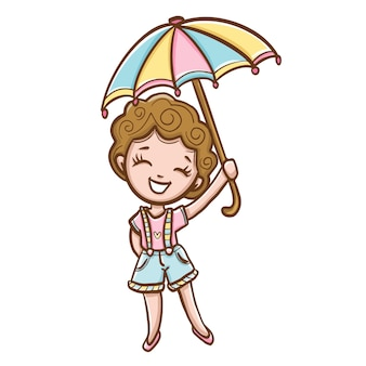 Mujer joven, con, colorido, paraguas