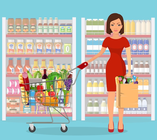 Mujer joven para compras de comestibles