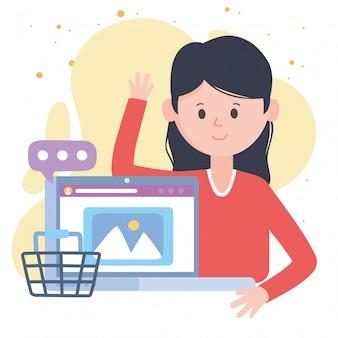 Mujer joven de compras en línea con tecnologías y comunicaciones de redes sociales portátiles