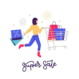 Mujer joven de compras. viernes negro. chica corriendo de compras. compras personaje femenino con carro y bolsas de papel. letras de super venta. ilustración.