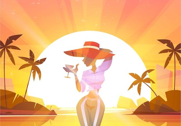 Mujer joven con copa de vino en verano sol atardecer paisaje marino y palmeras fondo hermosa chica con sombrero rojo beber champán posando en vista al mar resort exótico relajarse ilustración de dibujos animados