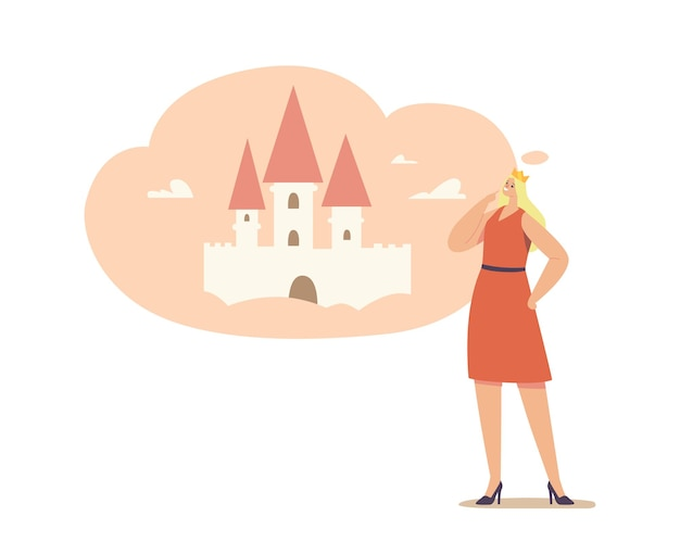 Mujer joven con corona en la cabeza imagínese a sí misma como la princesa soñando en el castillo rosa.