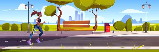 Mujer joven corre en el parque de la ciudad por la mañana. ilustración de dibujos animados con paisaje urbano, árboles y chica corredor en auriculares. concepto de estilo de vida saludable, fitness al aire libre y trotar