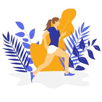 Mujer joven para correr. concepto de estilo de vida activo y saludable, correr, competencia de la ciudad, maratones, entrenamiento cardiovascular, ejercicio. ilustraciones de vectores aislados para flyer, prospecto, banner publicitario