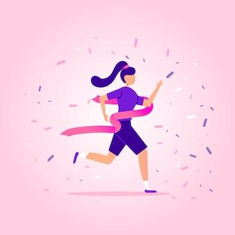 Mujer joven corriendo en el estadio para ganar y tener éxito.