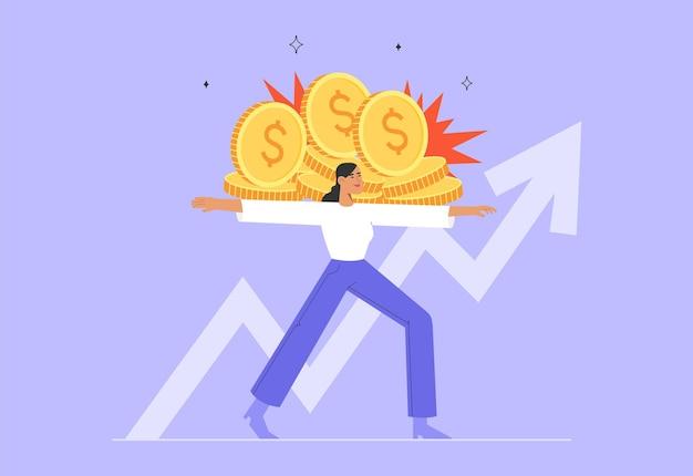Mujer joven creativa sosteniendo monedas implementación de un nuevo proyecto éxito profesional inversión