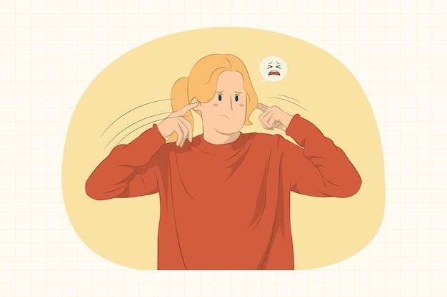 Mujer joven, cubierta, orejas, con, dedos, concepto