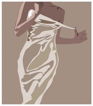 Mujer joven desnudándose de su vestido blanco. piel bronceada