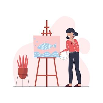 La mujer joven está dibujando un cuadro en el caballete con el pincel. pasatiempo. artista creativo. ilustración plana.