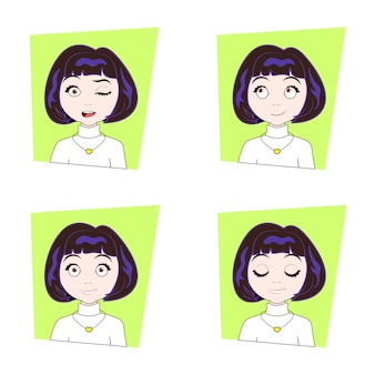 Mujer joven con diferentes emociones faciales conjunto de expresiones de cara de niña