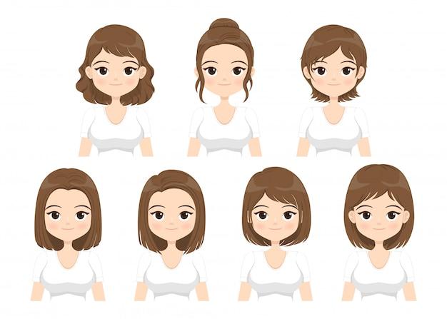 Mujer joven con diferentes estilos de cabello aislado sobre fondo blanco. ilustración.