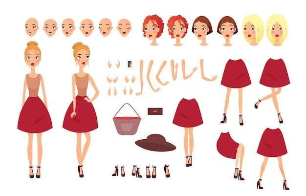 Mujer joven con diferentes posiciones. rostros femeninos, peinados, diferentes visiones, emociones.