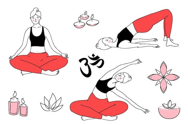 Mujer joven en diferentes posturas de yoga, haciendo ejercicios de estiramiento. ilustración de línea de niña en top negro y mallas rojas. vector dibujado a mano símbolos de yoga, om, velas y loto.