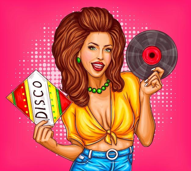 Mujer joven con disco de vinilo vector de arte pop disco