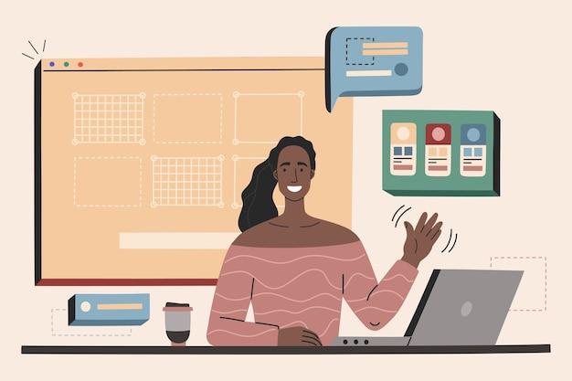 Mujer joven diseñadora web en el lugar de trabajo, creando sitio web, interfaz y aplicación móvil.